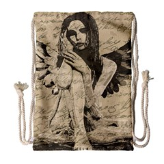 Vintage Angel Drawstring Bag (large) by Valentinaart