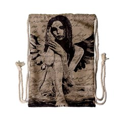 Vintage Angel Drawstring Bag (small) by Valentinaart