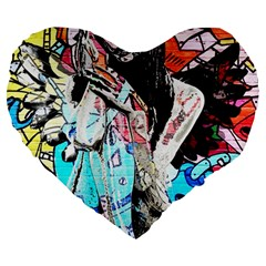Graffiti Angel Large 19  Premium Heart Shape Cushions by Valentinaart