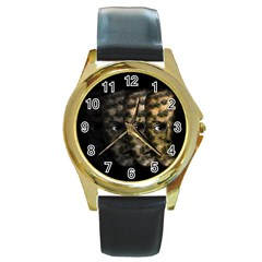 Wild Child Round Gold Metal Watch