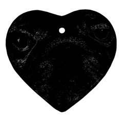Black Bulldog Heart Ornament (two Sides) by Valentinaart