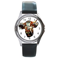Artistic Cow Round Metal Watch by Valentinaart