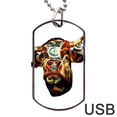 Artistic Cow Dog Tag Usb Flash (one Side) by Valentinaart