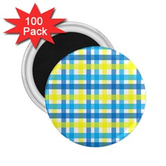 Gingham Plaid Yellow Aqua Blue 2 25  Magnets (100 Pack)