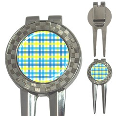 Gingham Plaid Yellow Aqua Blue 3 In 1 Golf Divots by Simbadda