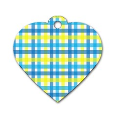 Gingham Plaid Yellow Aqua Blue Dog Tag Heart (one Side) by Simbadda