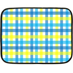 Gingham Plaid Yellow Aqua Blue Double Sided Fleece Blanket (mini)