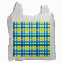 Gingham Plaid Yellow Aqua Blue Recycle Bag (two Side)  by Simbadda