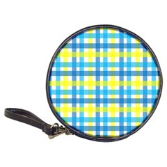 Gingham Plaid Yellow Aqua Blue Classic 20 Cd Wallets by Simbadda