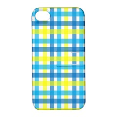 Gingham Plaid Yellow Aqua Blue Apple Iphone 4/4s Hardshell Case With Stand