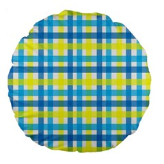 Gingham Plaid Yellow Aqua Blue Large 18  Premium Flano Round Cushions by Simbadda