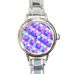 Geometric Plaid Gingham Diagonal Round Italian Charm Watch by Simbadda