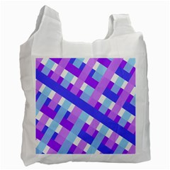Geometric Plaid Gingham Diagonal Recycle Bag (one Side) by Simbadda