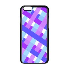 Geometric Plaid Gingham Diagonal Apple Iphone 6/6s Black Enamel Case by Simbadda