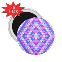 Geometric Gingham Merged Retro Pattern 2 25  Magnets (10 Pack)  by Simbadda