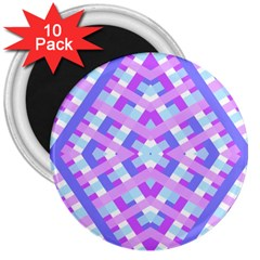 Geometric Gingham Merged Retro Pattern 3  Magnets (10 Pack)  by Simbadda