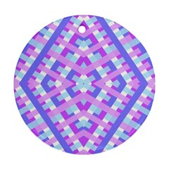 Geometric Gingham Merged Retro Pattern Round Ornament (two Sides) by Simbadda