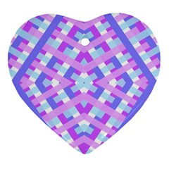 Geometric Gingham Merged Retro Pattern Heart Ornament (two Sides) by Simbadda