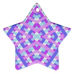 Geometric Gingham Merged Retro Pattern Star Ornament (two Sides) by Simbadda