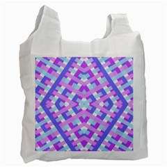 Geometric Gingham Merged Retro Pattern Recycle Bag (two Side)  by Simbadda