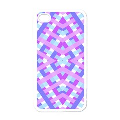 Geometric Gingham Merged Retro Pattern Apple Iphone 4 Case (white) by Simbadda