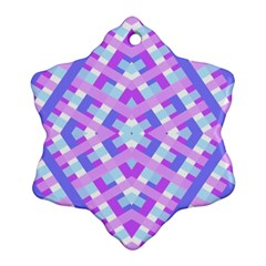 Geometric Gingham Merged Retro Pattern Snowflake Ornament (two Sides) by Simbadda