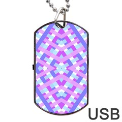 Geometric Gingham Merged Retro Pattern Dog Tag Usb Flash (two Sides) by Simbadda
