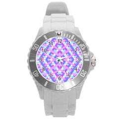 Geometric Gingham Merged Retro Pattern Round Plastic Sport Watch (l)
