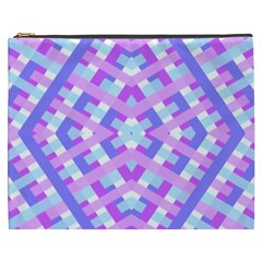 Geometric Gingham Merged Retro Pattern Cosmetic Bag (xxxl)