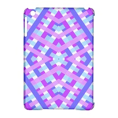 Geometric Gingham Merged Retro Pattern Apple Ipad Mini Hardshell Case (compatible With Smart Cover)