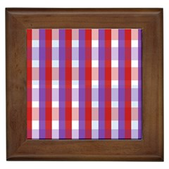 Gingham Pattern Checkered Violet Framed Tiles