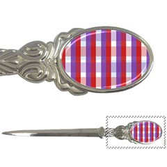 Gingham Pattern Checkered Violet Letter Openers by Simbadda