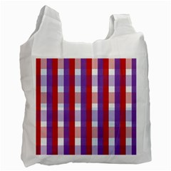 Gingham Pattern Checkered Violet Recycle Bag (two Side)