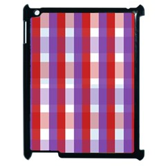 Gingham Pattern Checkered Violet Apple Ipad 2 Case (black)