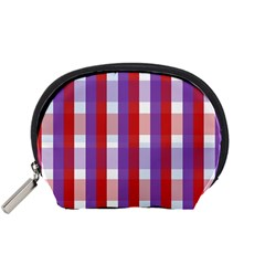 Gingham Pattern Checkered Violet Accessory Pouches (small)  by Simbadda