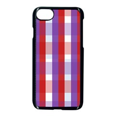 Gingham Pattern Checkered Violet Apple Iphone 7 Seamless Case (black) by Simbadda