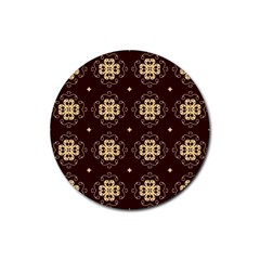 Seamless Ornament Symmetry Lines Rubber Round Coaster (4 Pack)