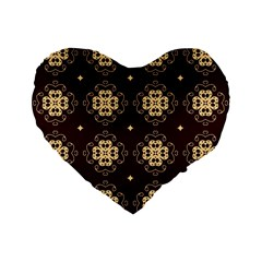 Seamless Ornament Symmetry Lines Standard 16  Premium Flano Heart Shape Cushions by Simbadda