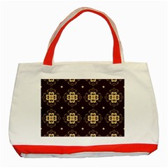Seamless Ornament Symmetry Lines Classic Tote Bag (red) by Simbadda