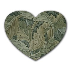 Vintage Background Green Leaves Heart Mousepads