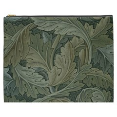 Vintage Background Green Leaves Cosmetic Bag (xxxl)