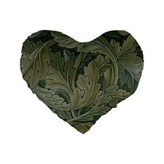 Vintage Background Green Leaves Standard 16  Premium Flano Heart Shape Cushions by Simbadda