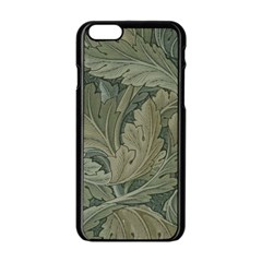 Vintage Background Green Leaves Apple Iphone 6/6s Black Enamel Case by Simbadda