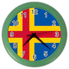 Flag Of Aland Color Wall Clocks by abbeyz71