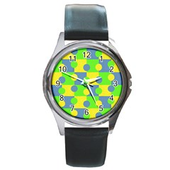 Abric Cotton Bright Blue Lime Round Metal Watch by Simbadda