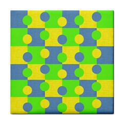 Abric Cotton Bright Blue Lime Tile Coasters