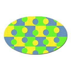 Abric Cotton Bright Blue Lime Oval Magnet by Simbadda