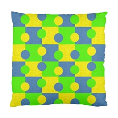 Abric Cotton Bright Blue Lime Standard Cushion Case (two Sides) by Simbadda
