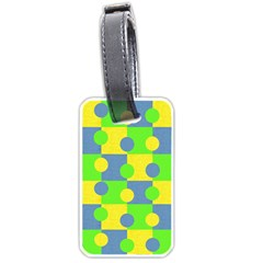 Abric Cotton Bright Blue Lime Luggage Tags (two Sides) by Simbadda