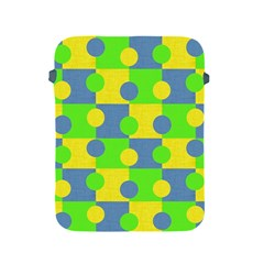 Abric Cotton Bright Blue Lime Apple Ipad 2/3/4 Protective Soft Cases by Simbadda